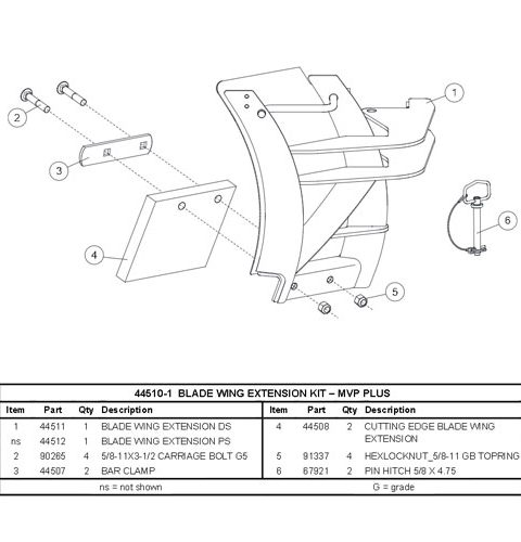 44510 480x500 western plow part 44510 1 mvp plus blade wing kit (8 1 2' and 9 western 1000 salt spreader wiring diagram at gsmx.co