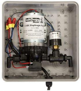 SaltDogg Part # LS102 - SaltDogg 12V DC Pre-Wet Enclosure Pump Assembly - 3.0 Gallons Per Minute